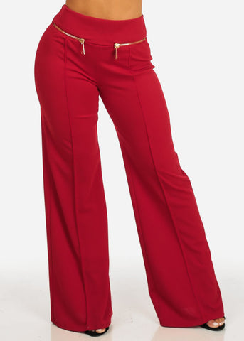 Image of Evening Wear Red High Waisted Pants