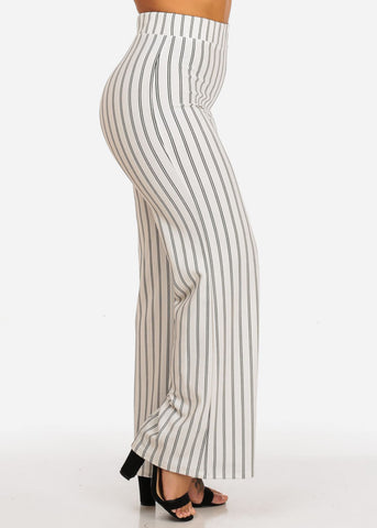Image of High Waisted Wide Legged Stripe Pants
