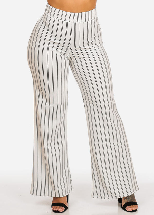 High Waisted Wide Legged Stripe Pants