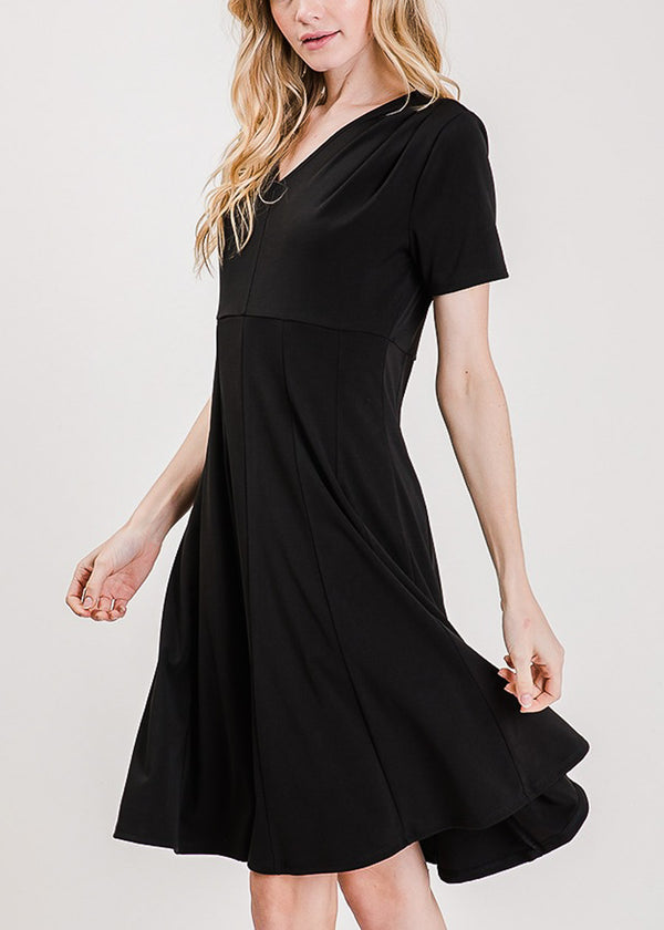 Short Sleeve Fit & Flare Black Dress