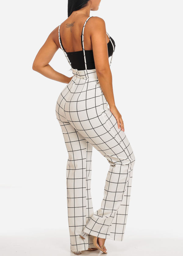 Sexy White Plaid Print  Overall