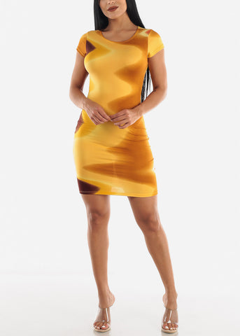 Image of Multicolor Mustard Dress