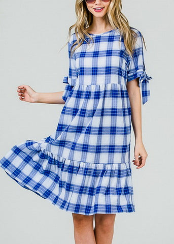 Image of Lightweight Blue Plaid Dress