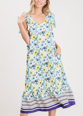 Image of Lightweight Floral Blue Maxi Dress