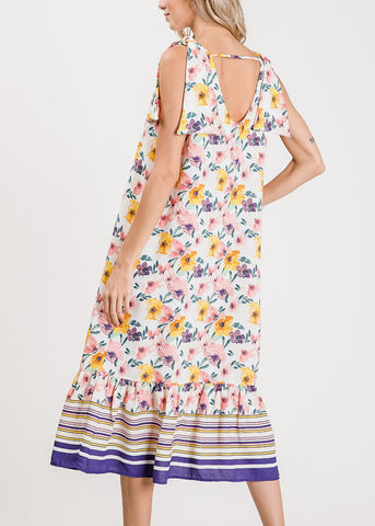 Image of Lightweight Floral Coral Maxi Dress