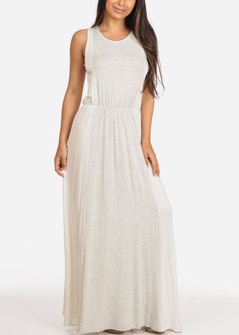 Image of Women's Junior Ladies Sexy Must Have Beach Summer Sun Light Grey And White Elastic Waist Maxi Dress