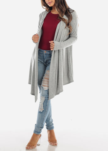 Image of Grey Long Hooded Cardigan BT2333GRY