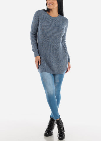 Image of Sexy Blue Cozy Warm Slip On Sweater