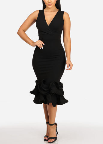 Image of Black Ruffle Bodycon Dress