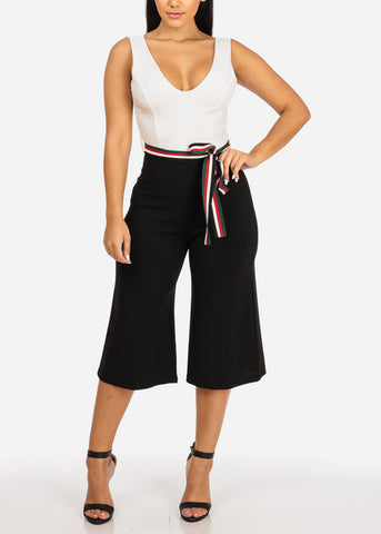 Image of Two Tone Stylish Cropped Jumpsuit