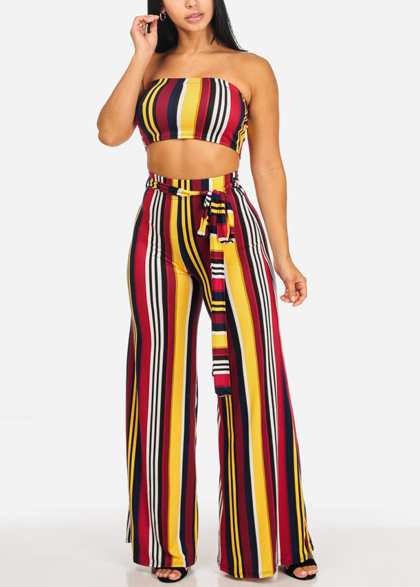 Yellow Stripe Strapless Top W Stripe Pants (2 PCE SET)