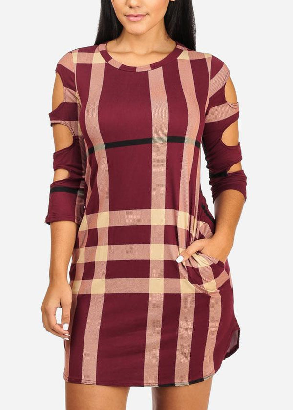 Plaid Mini Dress W Pockets