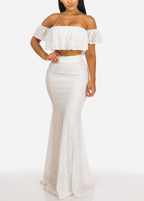 White Lace Off Shoulder Crop Top W Long Flare Skirt (2PC SET)