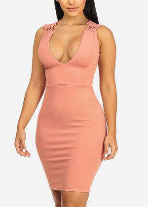 Sexy Salmon Bodycon Dress
