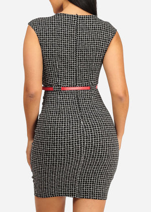 Elegant Two-Tone Plaid Print Dress
