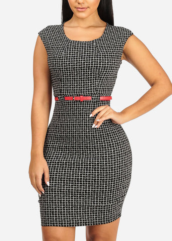 Image of Elegant Two-Tone Plaid Print Dress
