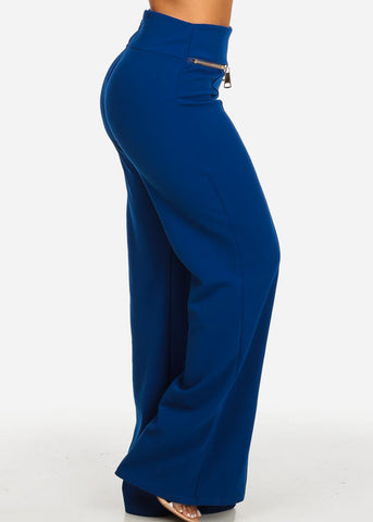 Image of Evening Wear Royal Blue High Rise Pants