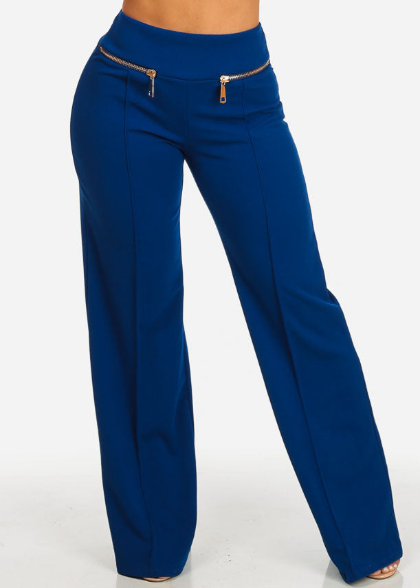 Evening Wear Royal Blue High Rise Pants