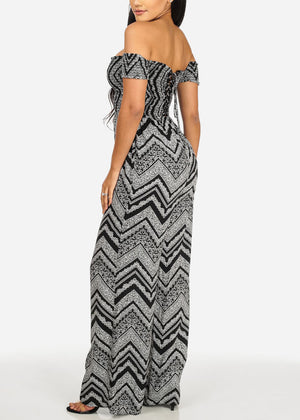 Zig Zag Printed Lace Up Back Jumpsuit