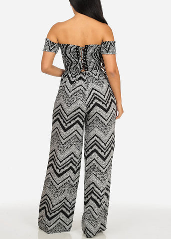 Image of Zig Zag Printed Lace Up Back Jumpsuit