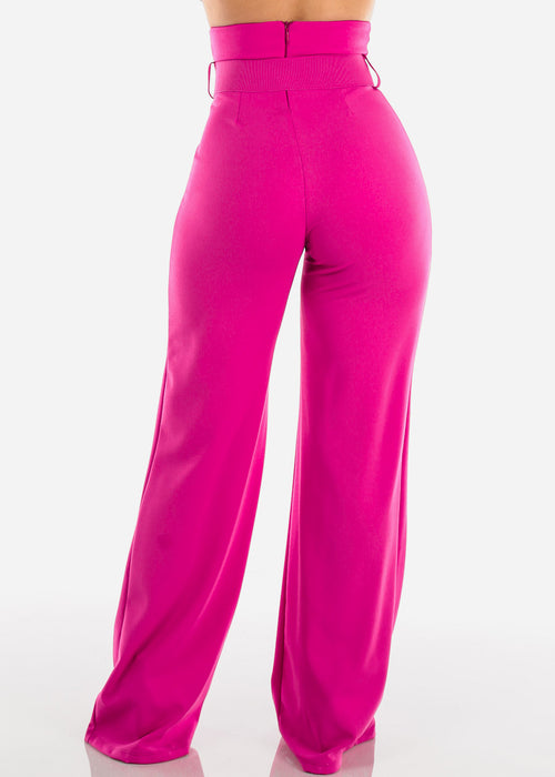 Elegant High Rise Pink Dressy Pants