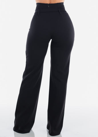 Belted High Rise Dressy Black Pants