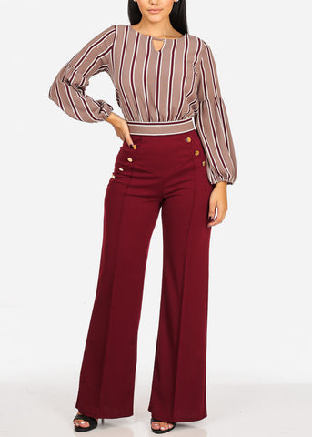 Evening Wear High Rise Burgundy Pants