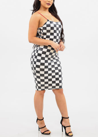 Women's Junior Ladies Sexy Stylish Trendy Must Have Night Out Clubwear Stretchy Spaghetti Strap Checkered Print Bodycon White And Black Dress