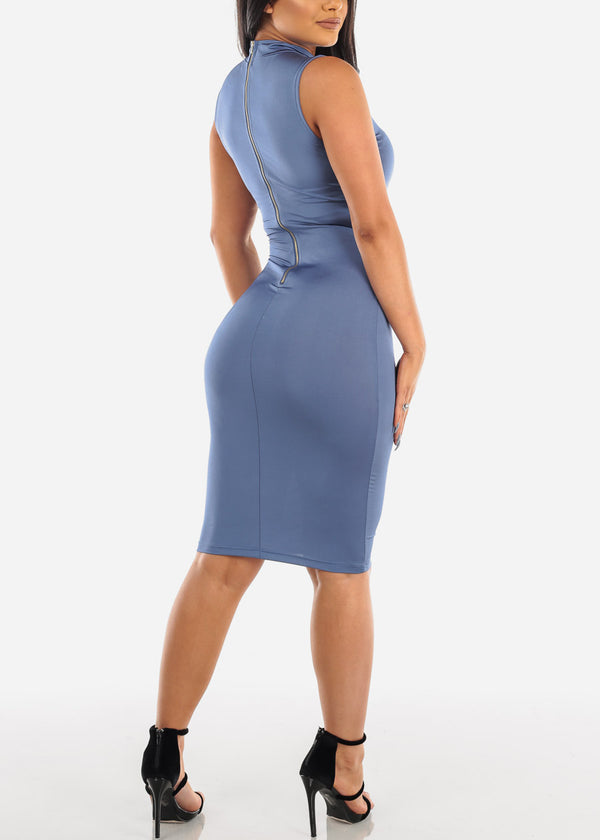 Sexy Blue Bodycon Midi Dress