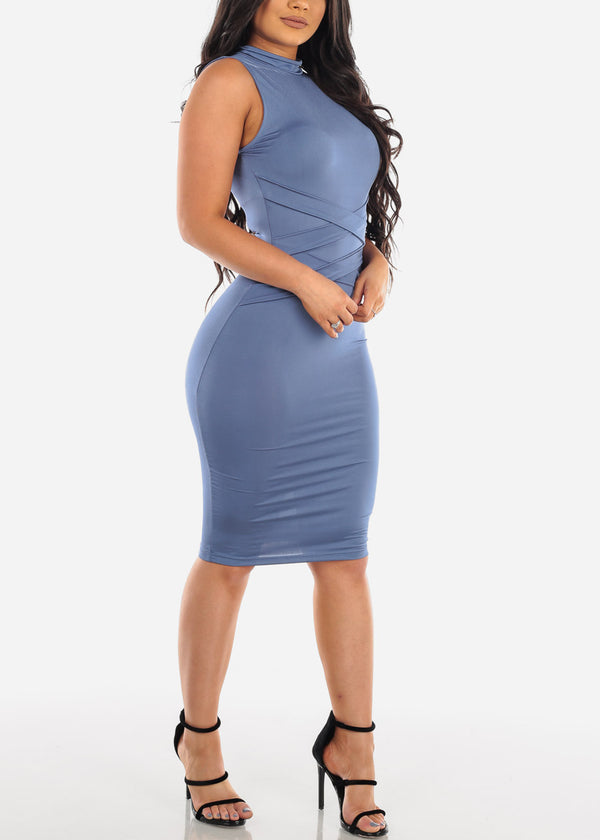 Women's Junior Ladies Sexy Night Out Clubwear Party Mock Neck Tight Fit Sleeveless Blue Bodycon Midi Dress With Front Strap Design