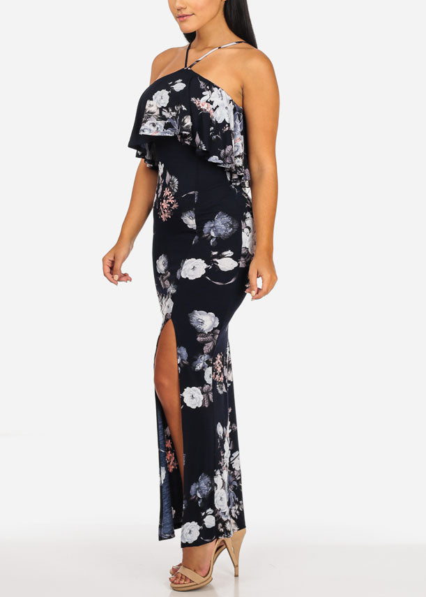 Navy Blue Floral Ruffle Maxi Dress