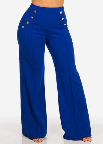 Evening Wear Royal Blue High Waisted Pants