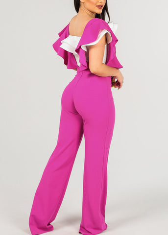 Sexy Ruffled Fuchsia Overall Jumpsuit