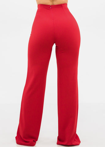 Elegant High Rise Red Pants