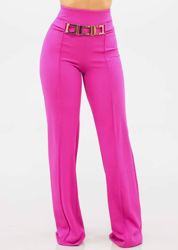 9d9b2096cd1 Women s Junior Ladies Sexy Elegant Going Out Clubwear Party Gala High  Waisted Solid Fuchsia Hot Pink Elegant High Rise Fuchsia Pants