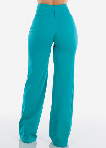 Elegant High Rise Teal Pants