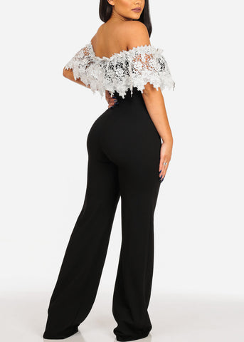 Image of Sexy Women's Ladies Junior Going Out Party Gala Solid Color Of Shoulder Crochet Detail Off Shoulder Black And White Two Tone Wide Legged Stylish Jumper