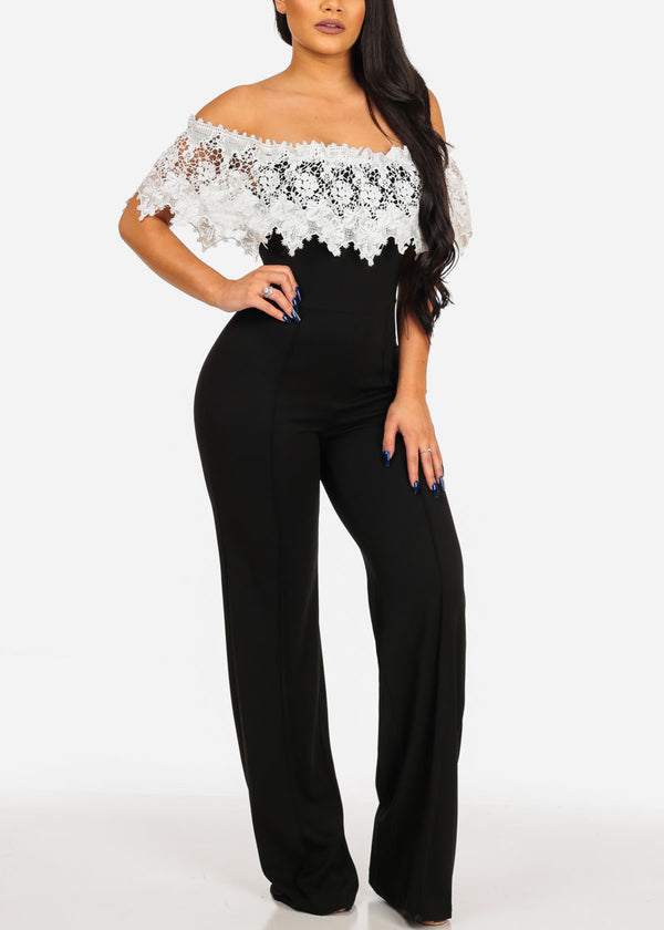Sexy Women's Ladies Junior Going Out Party Gala Solid Color Of Shoulder Crochet Detail Off Shoulder Black And White Two Tone Wide Legged Stylish Jumper