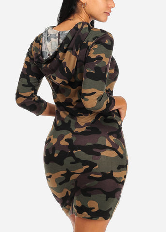 Image of Camouflage Print Midi Dress