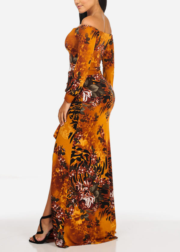 Sexy Off Shoulder Floral Maxi Dress
