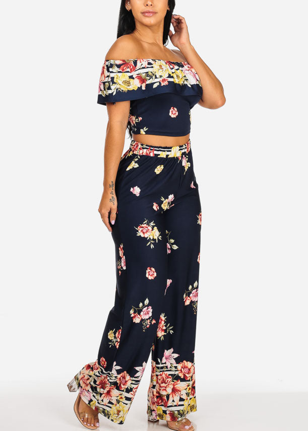 Navy Floral Crop Top W High Waisted Pants (2PCE SET)