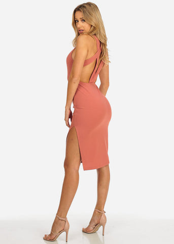 Rose Bodycon Open Back Dress