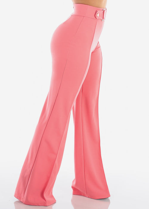 Women's Junior Ladies Sexy Elegant Going Out Party High Waisted Stretchy Wide Legged Peach Dressy Pants
