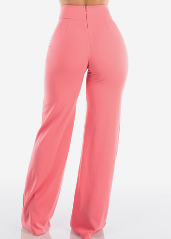 Elegant High Rise Peach Pants