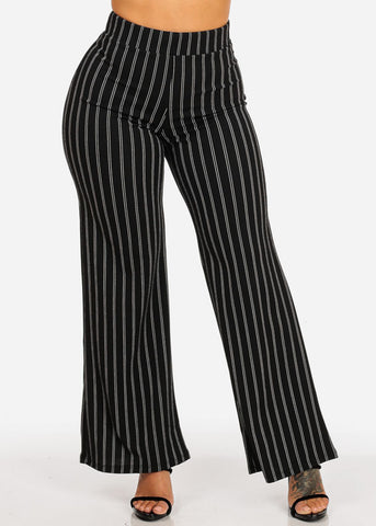 High Waisted Stripe Black Pants