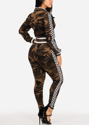 Checker Camo Cropped Jacket W Pants (2 PCE SET)