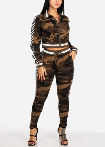 Image of Checker And Camo Print Zip Up Cropped Jacket W High Rise Pants (2 PCE SET)