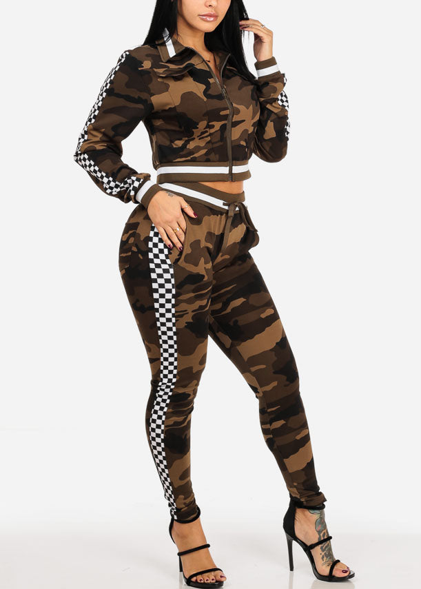 Checker And Camo Print Zip Up Cropped Jacket W High Rise Pants (2 PCE SET)