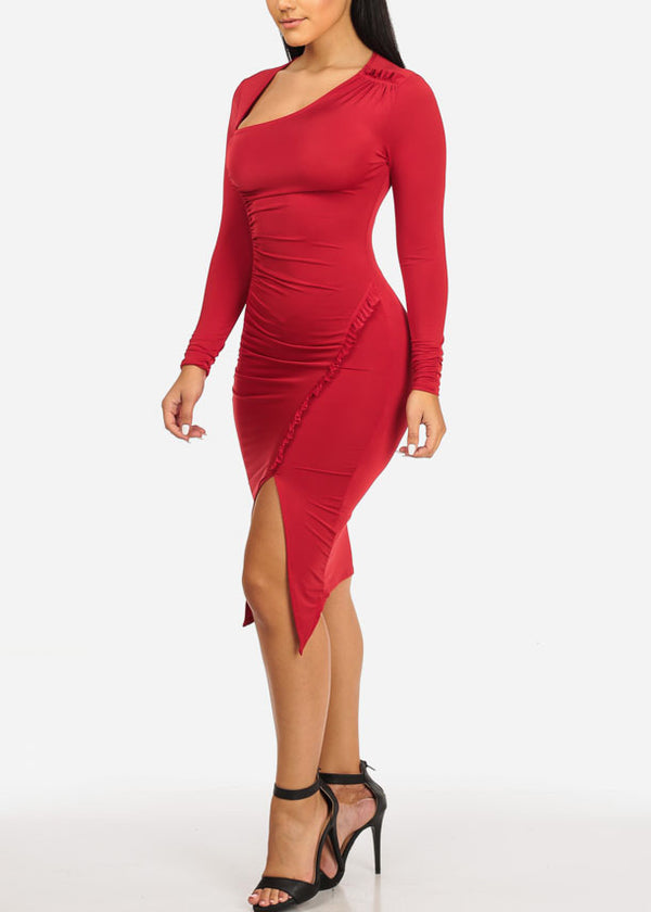 Sexy Red Ruched Bodycon Dress