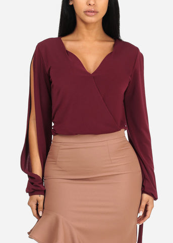 Image of Solid Burgundy Elastic Hem Wrap Front Top